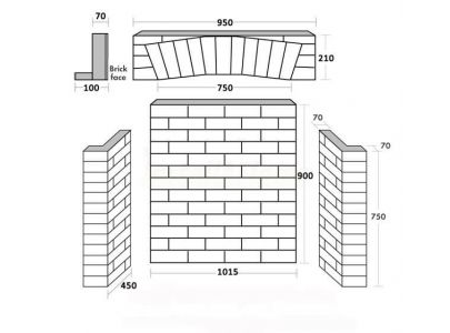 Rustic Brick Fireplace Chamber with Arch