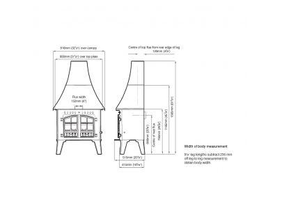 Hunter Herald Inglenook High Output Multifuel Stove