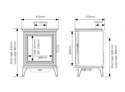 Stovax Sheraton 5 DEFRA Approved Wood Burning Stove - Ecodesign Ready