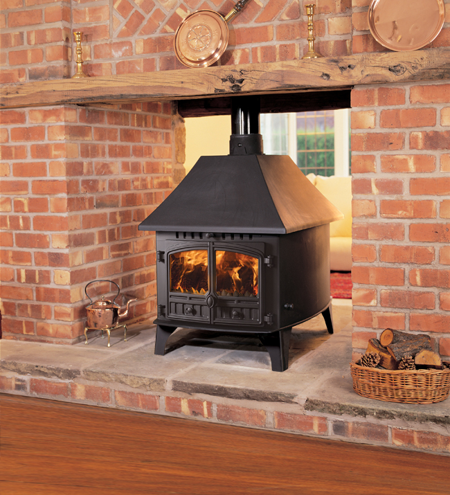 Hunter herald 14 double sided double depth wood burning for Open sided fireplace