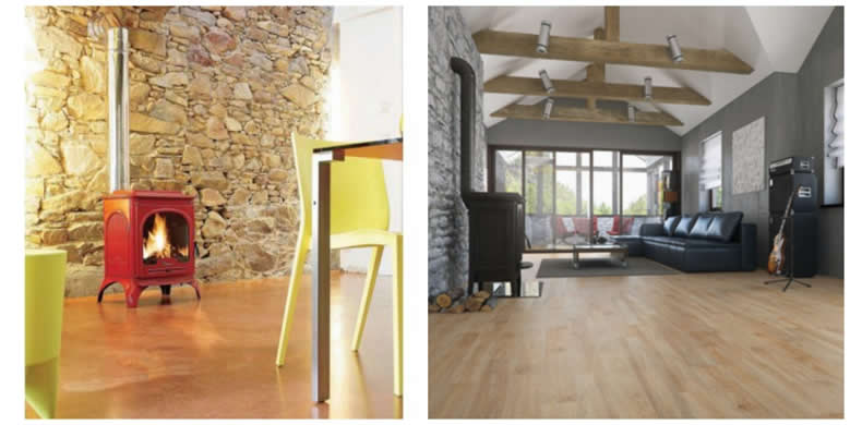 Cosy interior design - coloured stove and simple wood flooring