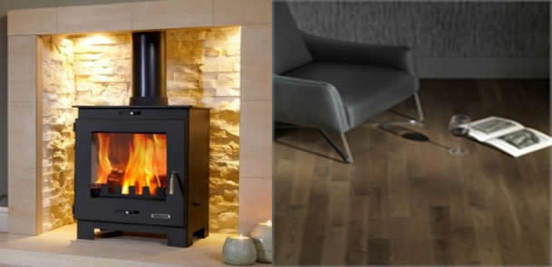 Cosy interior design - dark wood and a contemporary stove