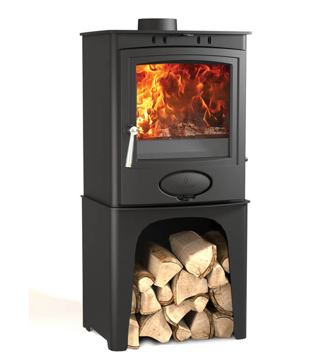 Arrow Ecoburn Plus 5 wood burning stove with optional logstore stand
