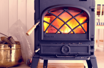 Coloured Wood Burning Stove With Logs