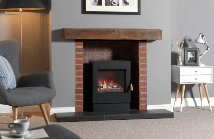 Burley Symmetry balanced flue stove with log fuel bed