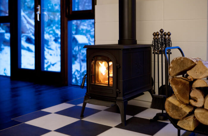 chimney stove with logs
