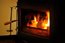 wood burning stove with fire poker