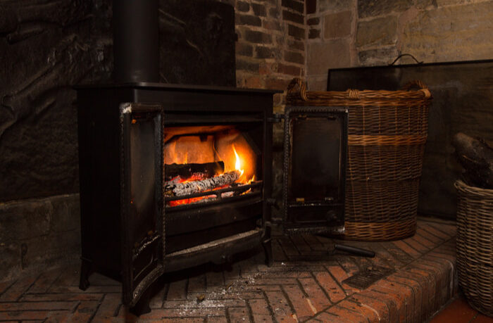 wood burning stove in hearth