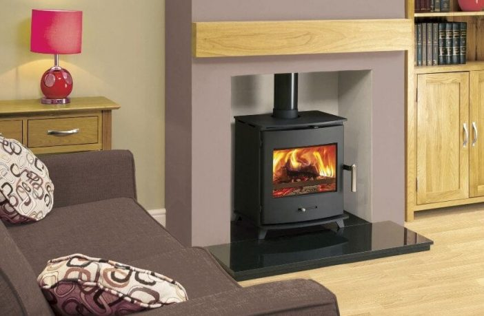 Wood burning stove in a living room