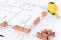 Building regulations plan with blocks and measuring tape