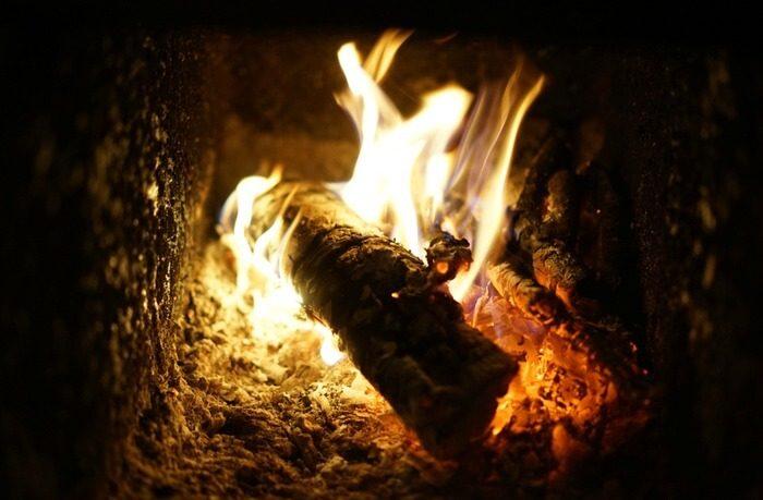 Log on fire in log burner