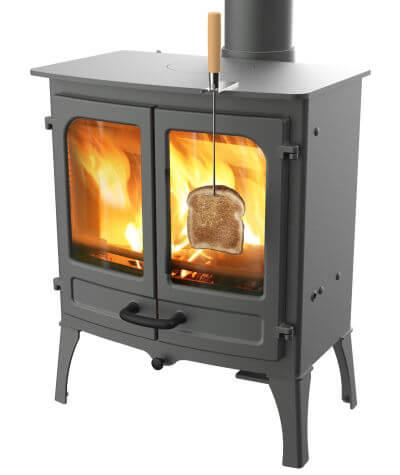 Charnwood log burner with stove toasting fork