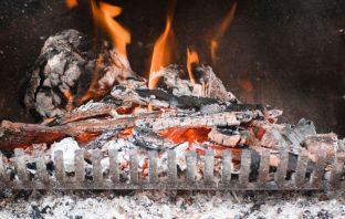inside a log burner with flames