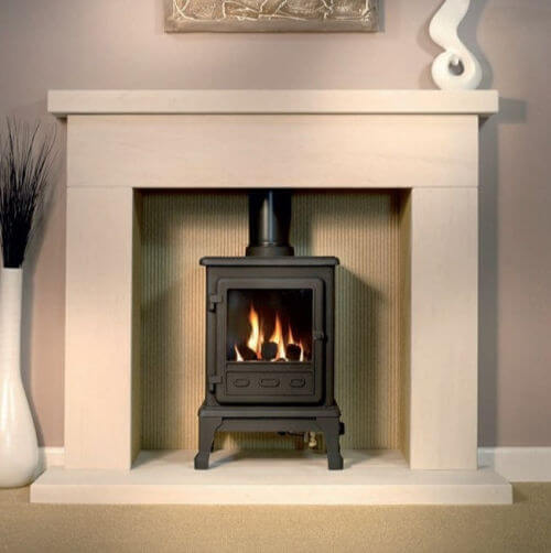 AXON DURRINGTON LIMESTONE FIREPLACE WITH REEDED LIMESTONE CHAMBER