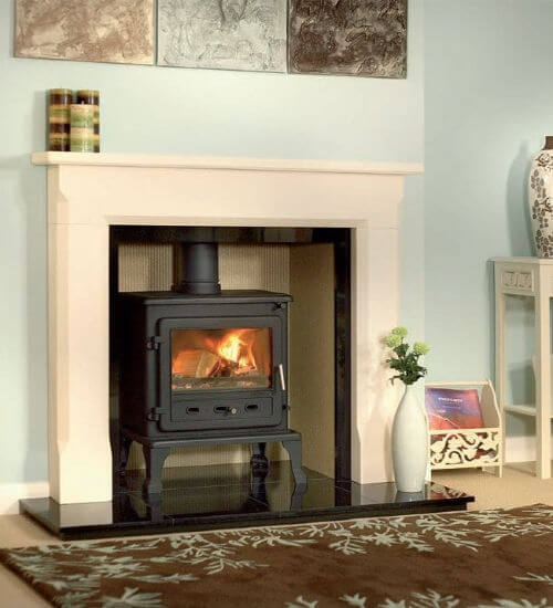 Axon Sienna Agean Limestone Fireplace With Reeded Chamber