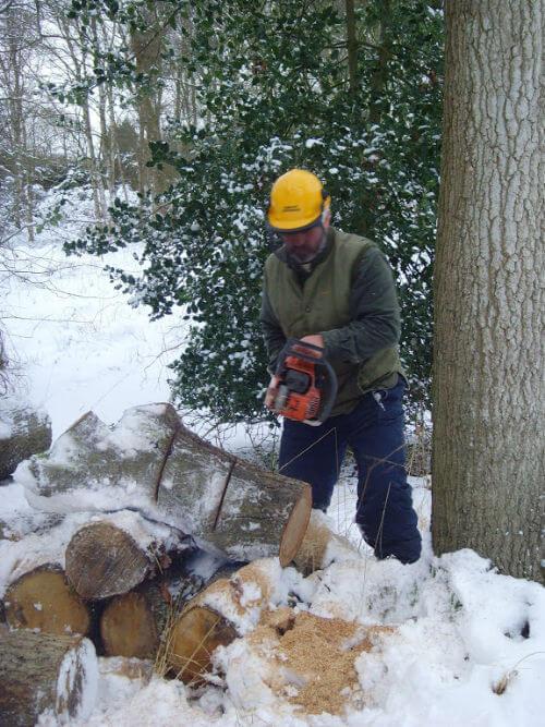 Vincent Thurkettle cutting wood
