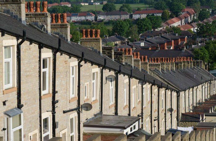Line of chimneys on terraced houses